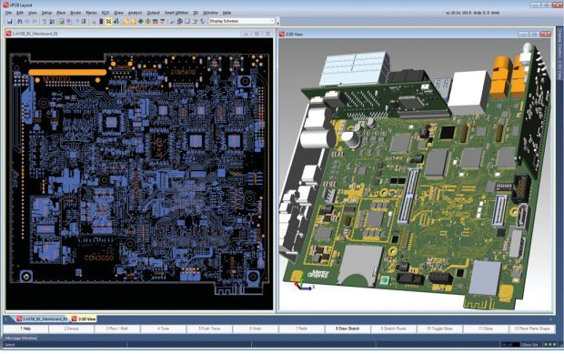 The convergence of ECAD and MCAD results in tools that allow the two disciplines to work closely together in a single environment. Shown here is Mentor Graphics Xpedition, with 3D visualization and validation within the PCB/ECAD environment. Image courtesy of Mentor Graphics.