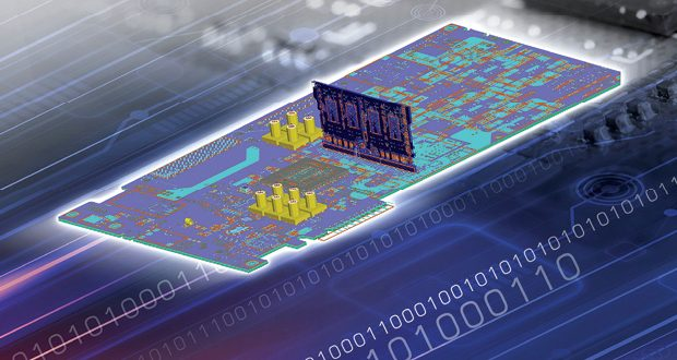 An example of a printed circuit board layout. Image courtesy of ANSYS.