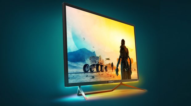 The Momentum 436M6 uses Ambiglow technology to add a new dimension to the entertainment viewing experience. Image courtesy of EPI/Philips.