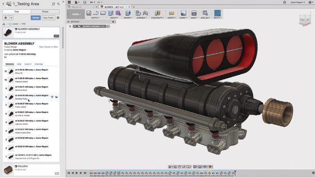 Cloud-powered version management is built into Fusion 360, giving engineers an easy way to track the evolution of designs. Image courtesy of Autodesk.