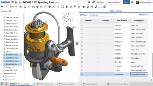 Generate a bill of materials directly within an assembly and then interact with it. Image courtesy of Onshape.