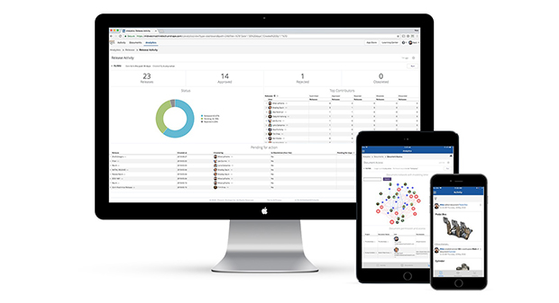 Onshape Enterprise enables executives and managers to monitor all aspects of design activity in real time – an industry first. You can Instantly catch up with your team via project dashboards, real-time activity feeds, time series visualizations and contributor leaderboards. Image courtesy of Onshape.