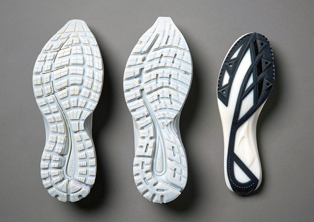Before designers at Brooks Running had an in-house, Connex3 3D printer they waited in line with everybody else for a service bureau to make and deliver their prototypes, such as the outsoles and midsoles shown here. Brooks Running image courtesy of Stratasys Ltd.