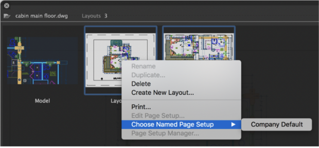Named Page Setup feature in updated AutoCAD for Mac. Image courtesy of Autodesk.
