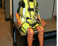 (Left) elderly crash dummy ready for testing and (right) an interior view of dummy structure. Image courtesy of Humanetics.