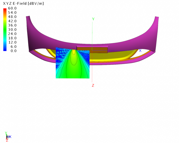 Altair Engineering has released the 2018 version of its electromagnetics (EM) simulation software suite. Shown here is an adaptive cruise control (ACC) radar system in a bumper with paint layer. Image courtesy of Altair Engineering Inc.