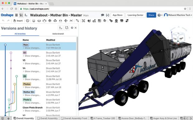 Branch and merge capabilities, popularized by DVCS in the software world, have been a staple of Onshape since its first release. Image courtesy of Onshape.