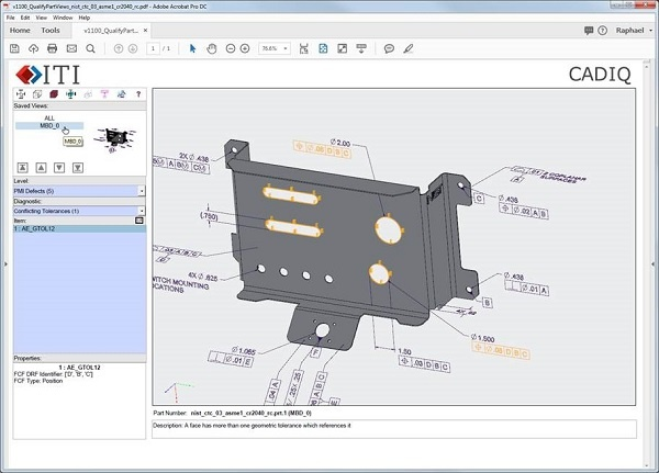 ITI has released version 11 of its CADIQ 3D CAD model validation and product quality solution. Shown here is a sample CADIQ 3D PDF report identifying a face with more than one geometric tolerance reference. Image courtesy of International TechneGroup Inc.