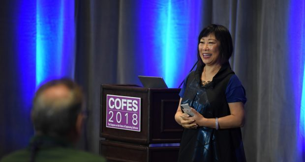 Ping Fu, founder of Geomagic and now executive chair of GelSight., gave a keynote talk that focused on machine learning and resilient design. Image courtesy of David Cohn.