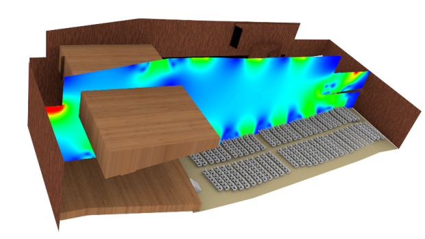 This EXN/Aero image shows a simulation of the performance of a displacement ventilation system in a large open concert hall space. Here, the problem tested the software's ability to model turbulent mixing and thermal buoyancy in a large space with complex geometry. Image courtesy of Envenio.
