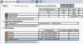 Fig. 5: The load case manager showing two load cases and a combinational load case setup.