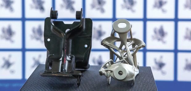Originally an eight-piece assembly, GM uses Autodesk generative design software to redesign the component into a single 3D-printed piece. Image courtesy of Autodesk.