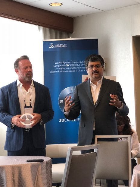 Scott Burk, co-president of PSMI (left) and Andy Kalambi, president and CEO of RIZE Inc. answer questions from the trade press at Dassault Systemes' Additive Manufacturing Symposium.