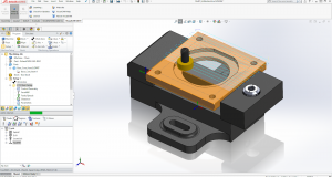 VisualCAM 2018 for SOLIDWORKS now includes the ability to run inside the Assembly document of SOLIDWORKS. Image courtesy of MecSoft.