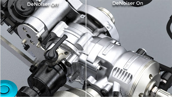 A preview of a feature in SOLIDWORKS 2019, showing SOLIDWORKS Visualize rendering an assembly with AI-powered noise removal from NVIDIA. Image courtesy of SOLIDWORKS.