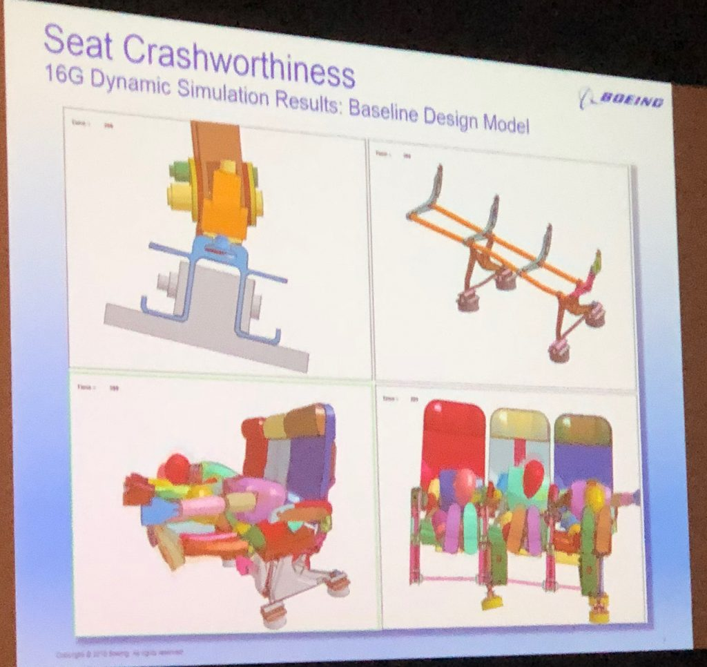 Simulating the crashworthiness of airline seats.