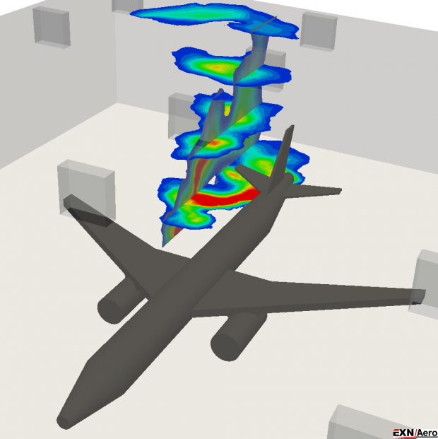 This EXN/Aero image from a validation study depicts a unsteady SST-RANS (Shear Stress Transport-Reynolds-averaged Navier–Stokes) simulation of incompressible, non-isothermal airflow in an aircraft hangar. Image courtesy of Envenio.