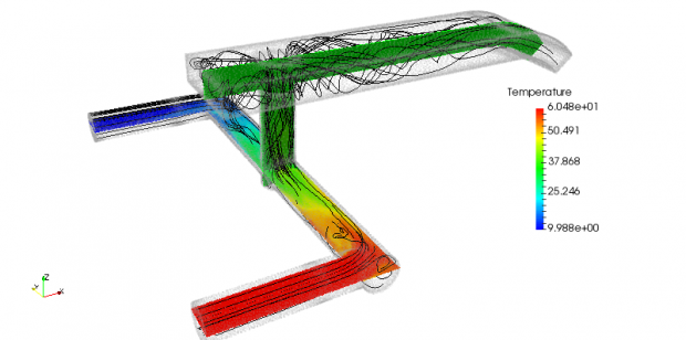 A screenshot from an EXN/Aero simulation of industrial pipe flow. Image courtesy of Envenio.