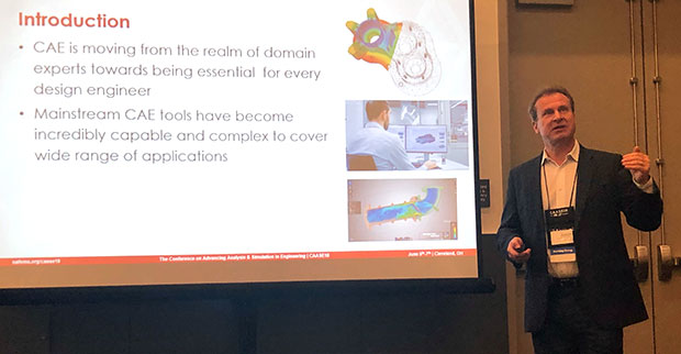 Seb Dewhurst, director of Business Development for EASA, makes a presentation on the democratization of simulation at CAASE 18.