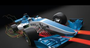 SimScale leverages the cloud to democratize CFD analysis, as with this example of an F1 race car. Image courtesy of SimScale.