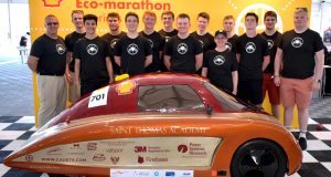 The Saint Thomas Academy team beat out teams, including several university teams, from North and South America that raced hydrogen, battery-electric and internal-combustion powered UrbanConcept cars. The top three teams from the Shell Eco-marathon Americas, Asia and Europe comprised the nine-car field for the international finale. Image courtesy of Saint Thomas Academy.