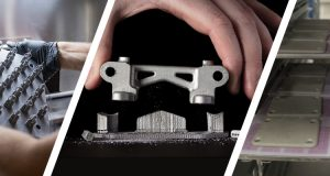 The medical parts on the left were produced using direct metal laser sintering. The center image shows a part made with Desktop Metal's fabrication process, which is said to be similar in capability and product integrity as metal injection molding (MIM). At right, for comparison, are MIM-made parts. Center image courtesy of Desktop Metal Inc. Images courtesy of Proto Labs Inc.