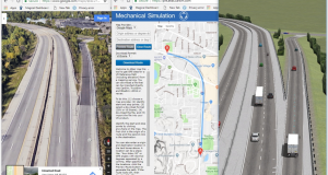 The Atlas web tool is used with Import options to reproduce the 3D geometry of a highway exit in TruckSim (I-94 exit 172 in Ann Arbor). Image courtesy of Mechanical Simulation.
