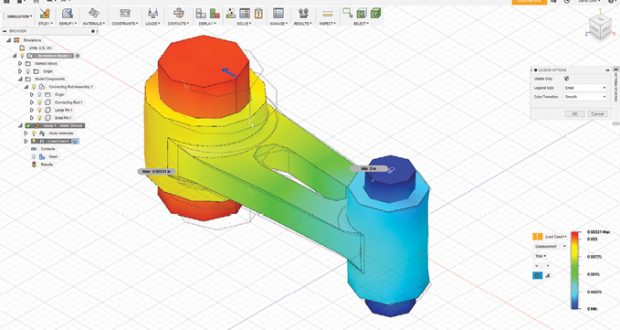 The Simulation workspace includes tools for using finite element analysis to investigate performance.