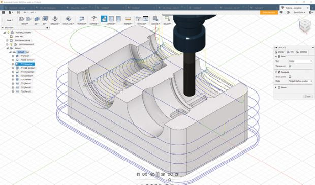 After generating a toolpath, inspect the results by using the Simulate function to see the actual cutting motion.