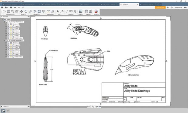 Fusion 360 provides tools for documenting parts and assemblies. Drawings remain associative to models so that they can update when changes are made to the model.