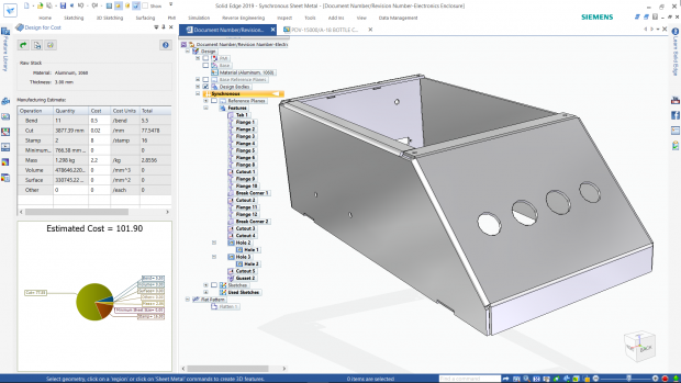 Solid Edge Mechanical's design for cost functionality can help designers estimate manufacturing and material costs, such as sheet metal parts. Image courtesy of Siemens PLM Software Inc.