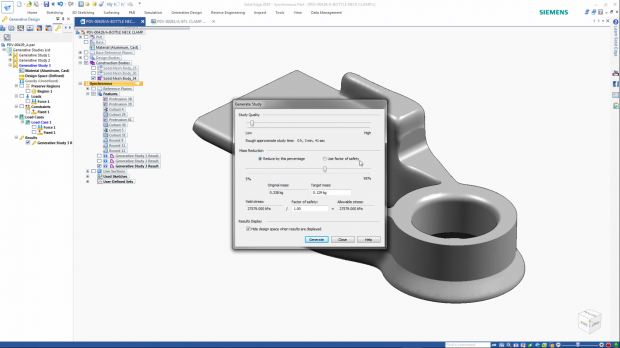 Solid Edge 2019's design tools can be supplemented with topology optimization capabilities. Shown here is a study being set up. Image courtesy of Siemens PLM Software Inc.
