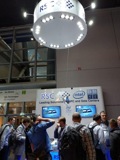 The RSC booth was busy throughout the ISC Supercomputing conference in Frankfurt thanks to the release of their new HPC solution. The latest model in the RSC Tornado line of HPC modules uses new SSD storage and Optane memory drive technology. Image courtesy of RSC.