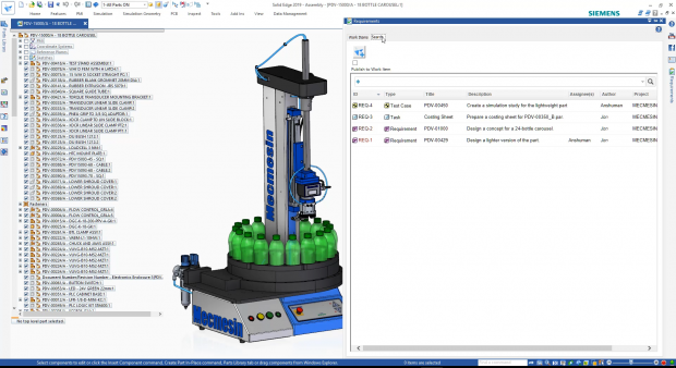 New requirements management capabilities in Solid Edge 2019 allow users to link, track and search requirements during the product design and manufacturing process. Image courtesy of Siemens PLM Software Inc.