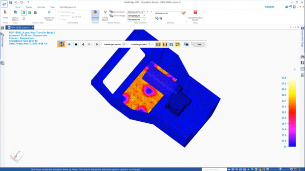 Solid Edge's built-in finite element analysis (FEA) capabilities are based on Siemens' Femap finite element modeling and NX Nastran solver technologies. Image courtesy of Siemens PLM Software Inc.