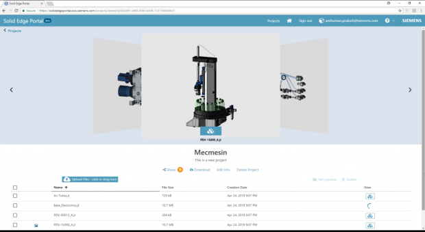The Solid Edge Portal offers an online CAD management, viewing and collaboration functionality for secure, controlled sharing of project documents and CAD files cost free. Shown here is a project view. Image courtesy of Siemens PLM Software Inc.