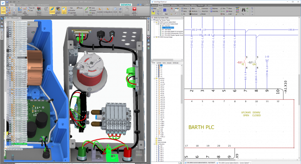 Solid Edge Wiring Design provides design and simulation tools for creating wiring diagrams and verifying other electrical systems. Image courtesy of Siemens PLM Software Inc.