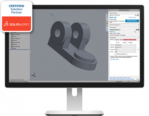 Xometry offers a complementary add-in that enables instant quoting from the SOLIDWORKS CAD workspace. With the acquisition of MakeTIme, the company will have a similar Autodesk Fusion component. Image courtesy of Xometry Inc.