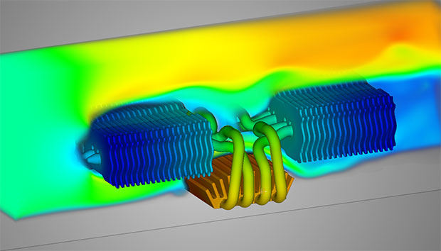 Discovery Live can seamlessly switch between fluid flow and thermal analysis displays, all on the same model. Image courtesy of ANSYS.