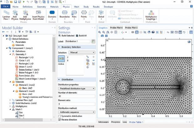 Fig. 1: COMSOL user interface. Images courtesy of Tony Abbey.