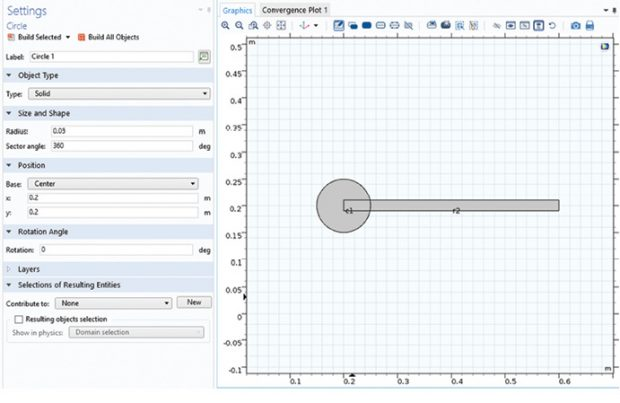 Fig. 3: Graphics window and Settings form for geometry.