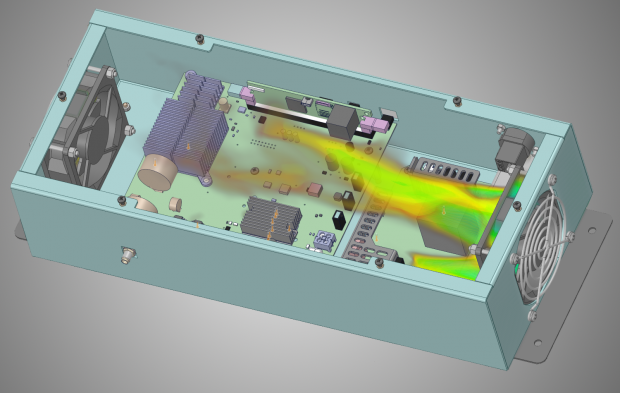 ANSYS Discovery Live fluid thermal -- Discovery Live provides visibility of heat concentrations and velocity where temperature control and heat removal is vital. Image courtesy of ANSYS.