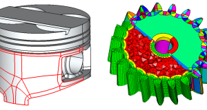 Left: Automatic subdivision of complex CAD surfaces, Right: Auto subdivision of a solid with a hybrid hex-skin mesh. Image courtesy of ITI.