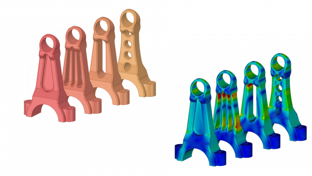 Discovery Live bracket iterations with simulations -- Users of Discovery Live can test more design iterations in a shorter amount of time, and test ideas they would not otherwise have considered. Image courtesy of ANSYS.