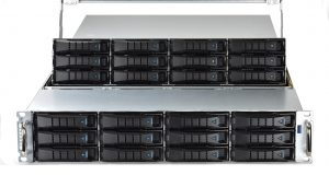 Equus Compute Solutions makes available its WHITEBOX OPEN family of customizable server platforms. Shown here is the 24-bay D2680 server. Fully configured, this 2U rackmount server can provide about 350TB of hard-disk and solid-state drive storage. Image courtesy of Equus Compute Solutions.