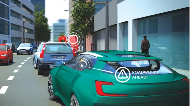 DSRC can work with vehicle-to-infrastructure technology to warn the driver of road construction and hazards not immediately visible to enhance driving safety. Image courtesy of NXP Semiconductors.