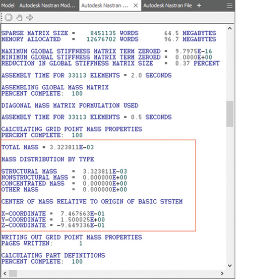 Fig. 9: Nastran output text file showing mass property calculations.