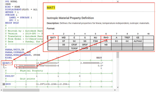 Fig. 10: Nastran input file with MAT1 help overlaid.