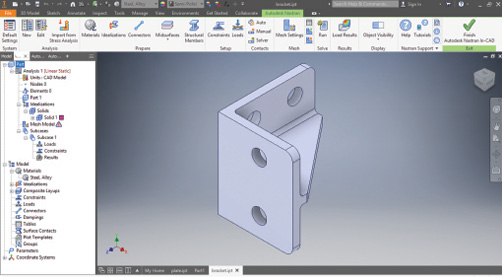 Fig. 2: The Autodesk Nastran In-CAD ribbon and tree view.