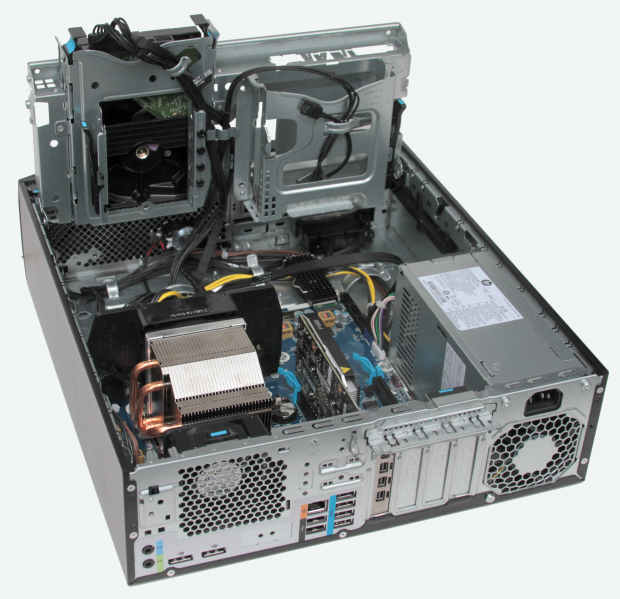 Fig. 2: The HP Z2 SFF G4 has lots of rear panel ports and a well-organized interior, with drive bays that pivot to access internal connections. Image by David Cohn.